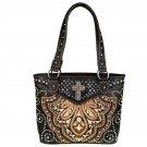MW443-8014 Montana West Cross Spiritual Collection Tote Bag Handbag Coffee