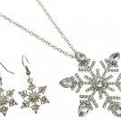 Winter Snowflake Glass Crystal Rhinestone Pendant Silvertone Necklace Earrings
