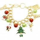 "Christmas Tree Santa Candy Cane Goldtone Charm Bracelet, 7.25+1"" Ext."