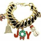 "Christmas Bell Red Green Joy Snowman Goldtone Charm Bracelet, 8+2"" Ext."