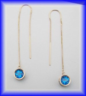 Gemstone Threaders.  14k glacier blue earrings