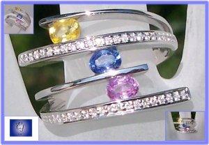 Fancy yellow blue pink sapphires & diamonds 18k white gold ring Sz 7