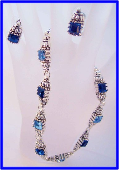 Princess cut blues and silvertone cable designer style earrings and power necklace
