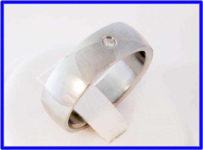 Stainless steel and cz mens ring 9.  Masculine styling.  Comfortable.
