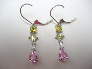"Springtime colors!  Pink yellow golden white 1.5"" dangle heiress earrings"