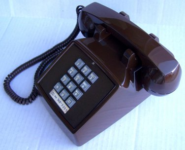 Vintage ITT 2500 Brown Push Button Desk Phone Reconditioned
