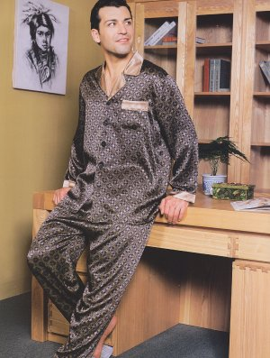 MB320023  Luxurious 100% Men's Silk  Pajamas with Lounge Pants set Cearance Sale