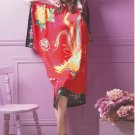 MB114003 Maternity Red Hand Painted Pure Silk Butterfly Sleeves Night Dress Gown Clearance Sale