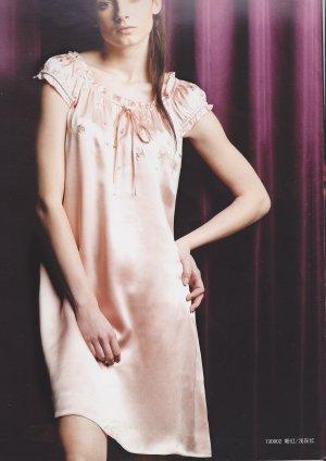 MB730002 Dusty Pink 100% Pure Silk One Piece Sleepwear Night Dress Gown Knee Length Clearance Sale