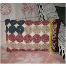 Americana Pillow American Flag designed of  handcrafted of Yo Yo's quilt circles and vintage linens