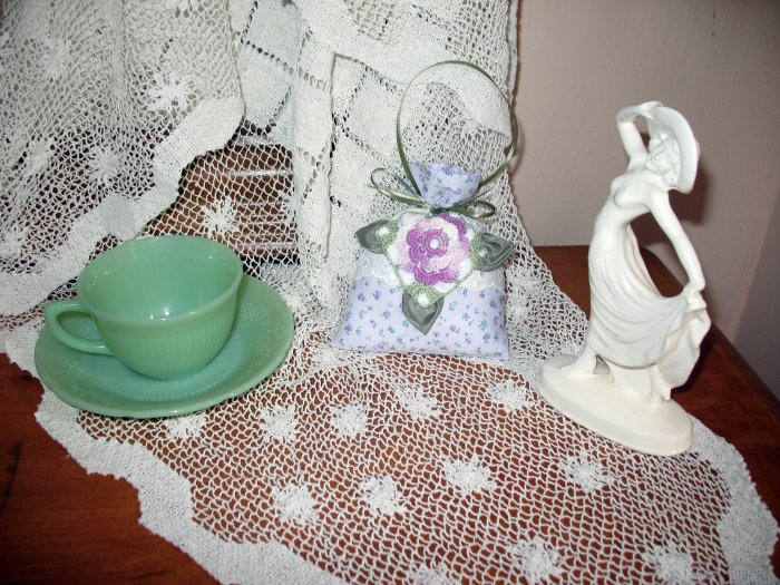Hanging Lavender Sachet Pillow made from Vintage Linens and Irish Crochet