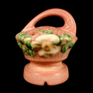Roseville Pottery Pink hite Rose Flower Frog - Shape number 41