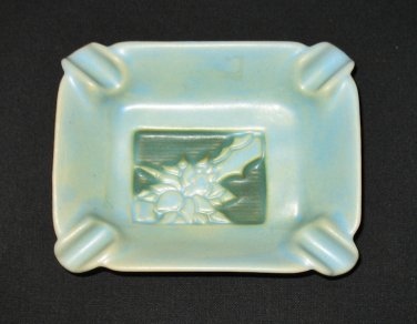 Roseville Pottery Silhouette Mid Century Modern Ashtray Aqua with Raised Floral Design