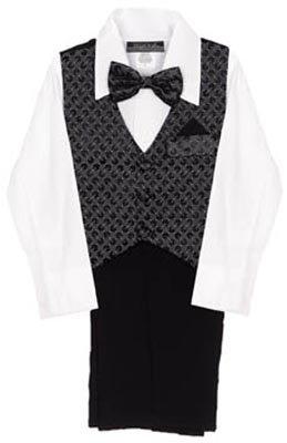 4 Pc Black And Silver Vest Suit