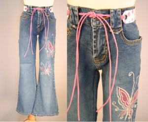 Embroidered Butterfly Jeans