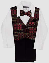 4 Pc Red Checkered Vest Suit