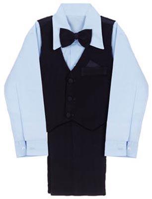 4 Pc Black Suit With Blue Shirt