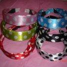 lot f 6 Color Assorted Lovely Mixed Satin Polka Dot Silk Headband