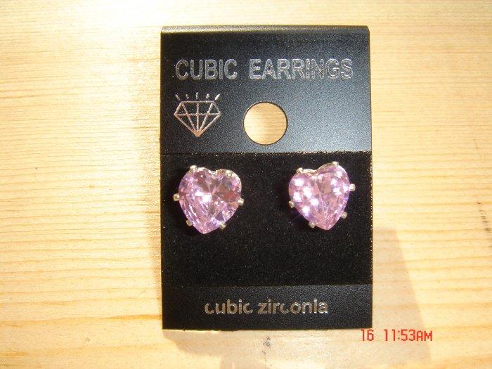 Attractive pair of Light Purple Simulated Diamond Cubic Zirconia Stud Post Earrings