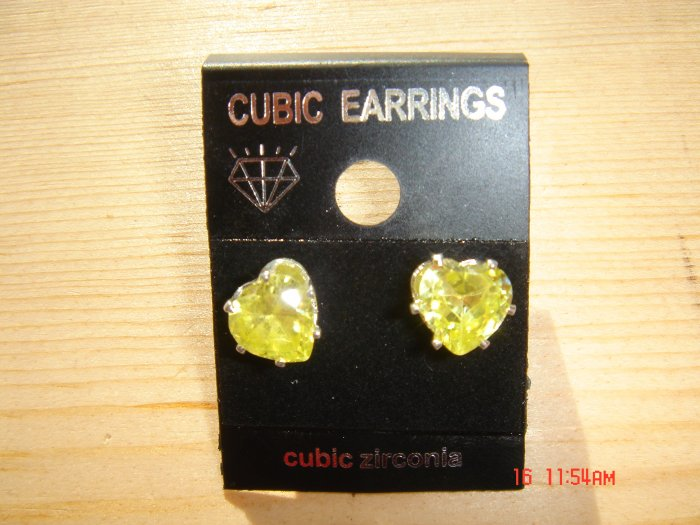 Fine Silver Yellow Cubic Zirconia Heart shape cut 8 MM Stud Earrings