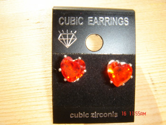 FREE Gift Bag Ruby Simulated Diamond Cubic Zirconia Sterling Silver Stud Post Earrings