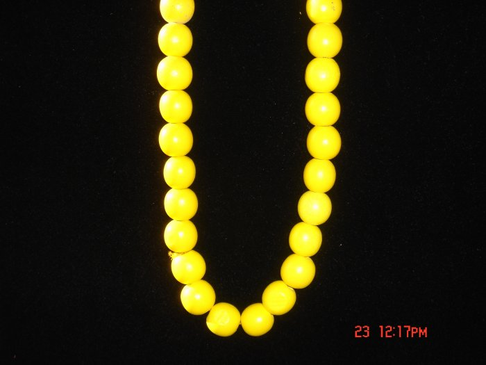 Sharp Yellow Wood Beads Necklace w/ 24mm Ball**FREE Gift Bag