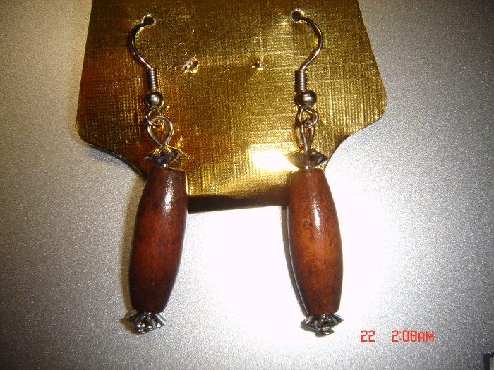 Fashion Handmade Brown Wood Dangle Earrings ON SALE 2009**