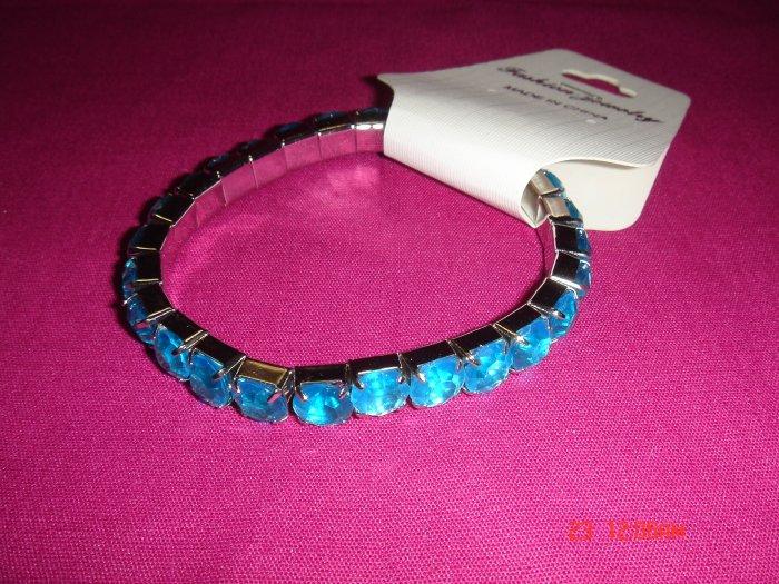 High Quality Light Blue Simulated Diamond Stretch Tennis Bracelet on Tag