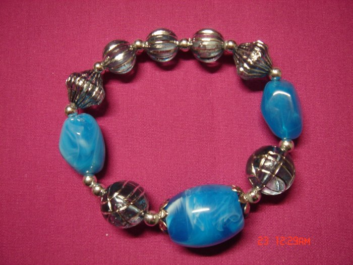 Real SeaWater Blue Marble and Acrylic Bead Stretch Bracelet**