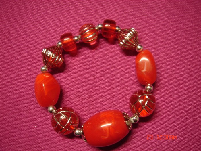 Real Ruby Red Marble and Acrylic Bead Stretch Bracelet**