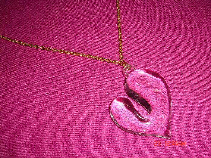 2009 NEW Puffy Transparent Acrylic Heart choose Gold or Silver Necklace