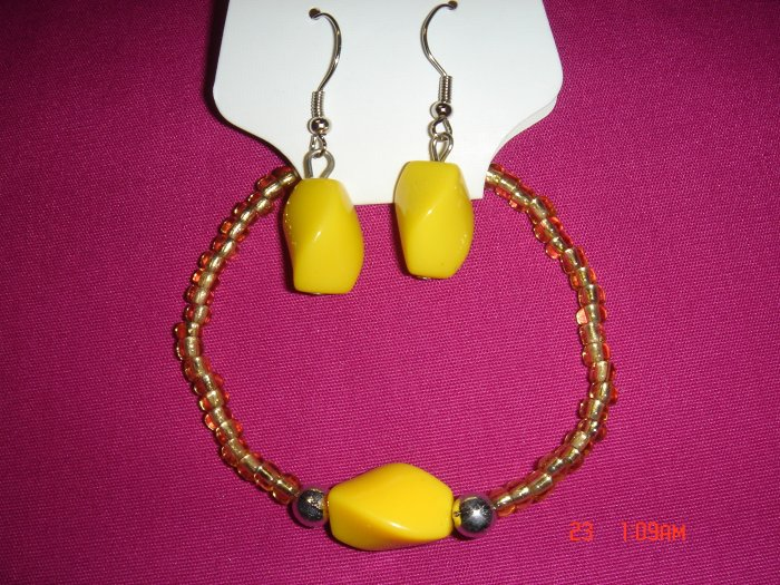 Acrylic Bead Silver Ball Stretch Bracelet Earring Set*CLEARANCE