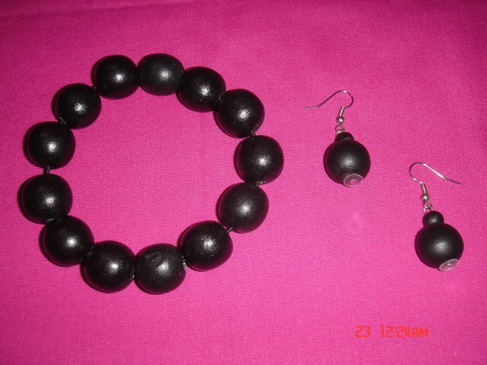 Wood Bead 24mm Ball Stretch Bracelet Earring Set*ON Sale