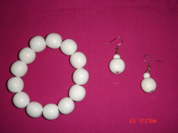 Wood Bead 24mm Ball Stretch Bracelet Earring Set*ON Sale