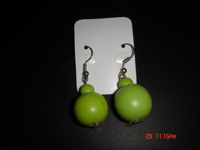Promotional Price*Green Wood Bead 925 hook Dangle Earrings on Card**