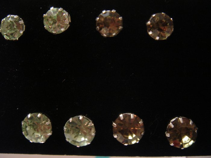 Gift SET 1 pair 9mm Rhinestone 925 Studs Earrings~choose color**FREE Silver Foil Gift Box