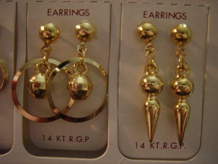 1 Pair Korea 14Kt R.G.P Gold Dangle Earrings Gift Set**