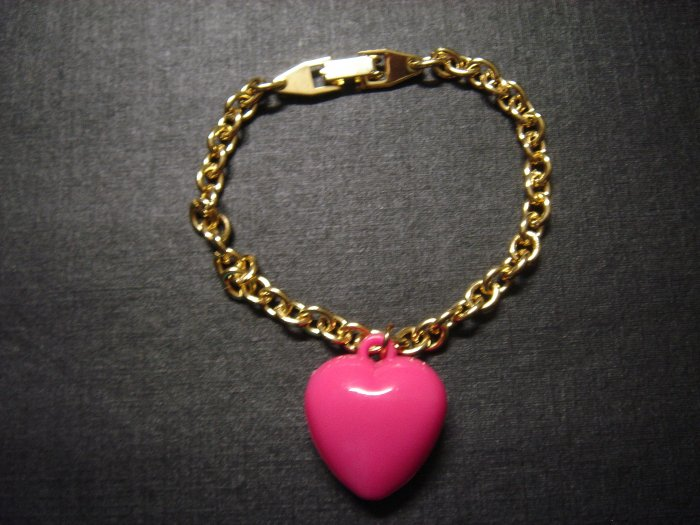 Pink Heart LOVE Gold-Plated Bracelet on Card~ON SALE