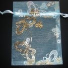 Lot of 10 Seawater Blue Gold Butterfly Print Candy Gift Organza Pouch