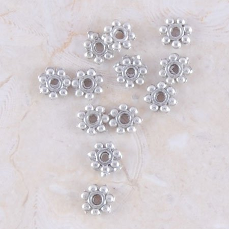 50 Antique Silver Daisy Spacer Beads Findings*Make your Own Bracelet/Necklace