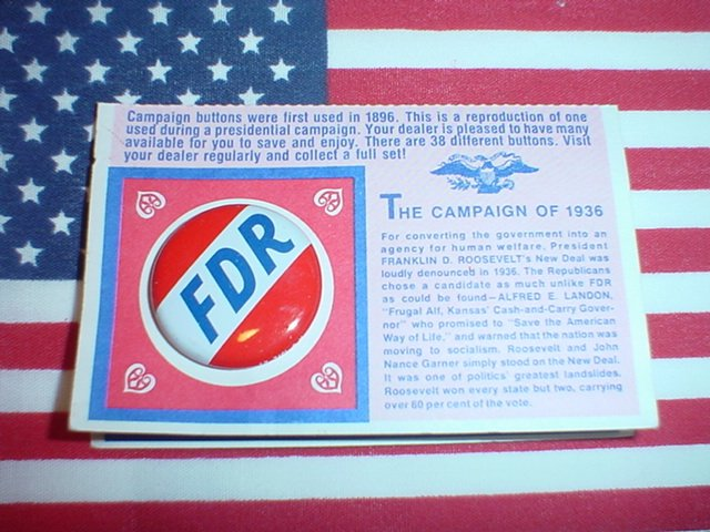 President Franklin Delano Roosevelt FDR Campaign Pin Reproduction 1936