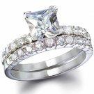2.5 CT Princess cut Engagement/Wedding Ring set * Sz 5,6,7,8,9 *