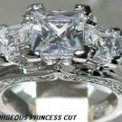2.8+ CT Vintage Style Princess cut Ring * SZ 5,6,7,8,9 * New *