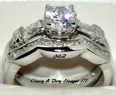 Engagement/Wedding Ring set * 1.5 CT Brilliant cut * SZ 5,6,7,8,9 *