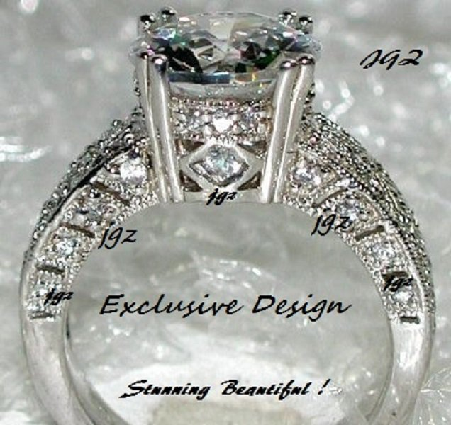 3.0 CT Round Brilliant cut Antique Design Cocktail Ring * Size 5,6,7,8,9 * Exclusive New Design *