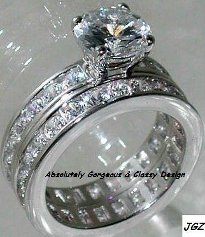 3.50ct Round Brilliant cut Engagement/Wedding Ring set*Available Sz 5/6/7/8/9 *
