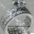 3.50ct Round Brilliant cut Engagement/Wedding Ring set*Available Sz 5/6/7/8/9 *