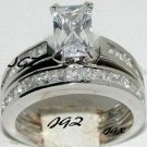 Engagement/Wedding Ring set * 1.5 ct Emerald cut Center stone* Size 5,6,7,8,9 *