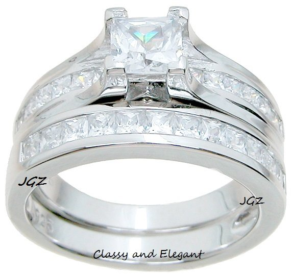 Engagement Ring set Classy Cathedral Princess cut design. Sz 5, 6, 7, 8, 9