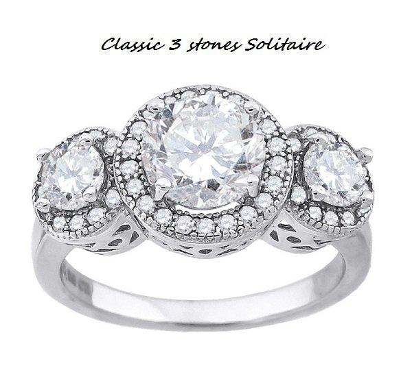 Classic 3 Stone *past-present-future * Solitaire Ring *sz 8*